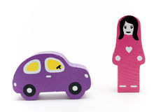 Brinquedos de madeira. Menina e carro Imagens de Stock Royalty Free