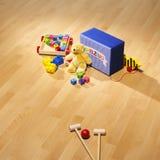 Brinquedos de madeira no parquet brilhante Foto de Stock Royalty Free