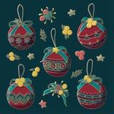 Brinquedos decorativos da árvore de Natal do vetor com curvas, estrelas e bagas ilustração royalty free