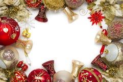 Brinquedos do ano novo no fundo branco Fotografia de Stock Royalty Free