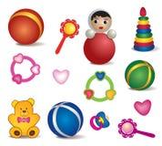 Brinquedos do bebê isolados. Grupo do vetor de ícone do brinquedo. ilustração do vetor