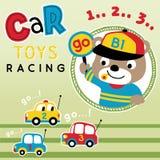 Brinquedos do carro que competem o vetor dos desenhos animados ilustração stock