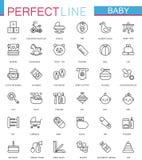 Brinquedos do cuidado do bebê, criança que alimenta a linha fina ícones da Web ajustados projeto do ícone do esboço do curso ilustração do vetor