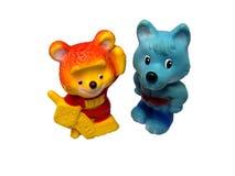 Brinquedos do lobo e do urso Imagem de Stock Royalty Free