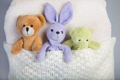 Brinquedos do luxuoso em uma cama Imagem de Stock Royalty Free