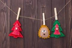 Brinquedos do Natal com suas próprias mãos Fotografia de Stock Royalty Free