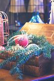 Brinquedos do Natal, composição de bolas do Natal Imagens de Stock