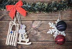 Brinquedos do Natal e bolas do Natal Fotografia de Stock