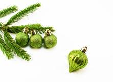 Brinquedos do Natal e de árvore do Natal ramo Fotografia de Stock