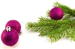 Brinquedos do Natal e de árvore do Natal ramo Foto de Stock Royalty Free