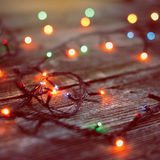 Brinquedos do Natal no fundo de madeira Fotos de Stock