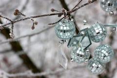 Brinquedos do Natal que penduram na árvore Primeira neve Esta árvore fora na neve foto de stock
