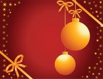 Brinquedos do ouro do Natal com estrelas Fotografia de Stock Royalty Free