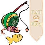 Brinquedos do ` s do gato do vetor: bola, provocação; rato e peixes ilustração royalty free