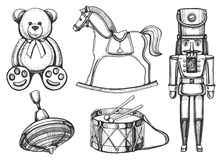 Brinquedos do vintage ajustados ilustração royalty free