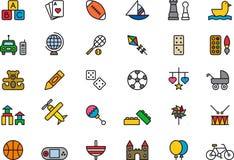 Brinquedos e ícones dos jogos Fotografia de Stock Royalty Free