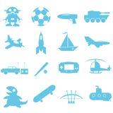 Brinquedos e acessórios para o ícone do menino Imagem de Stock Royalty Free