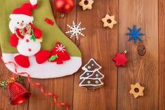 Brinquedos e cookies do Natal Fotos de Stock