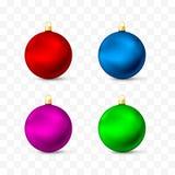 Brinquedos e decorações do Natal Grupo realístico das cores diferentes Ilustração do vetor isolada no fundo transparente ilustração do vetor