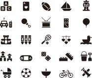 Brinquedos e grupo do ícone dos jogos ilustração stock