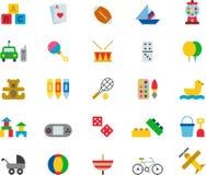 Brinquedos e grupo do ícone dos jogos ilustração do vetor
