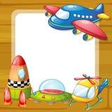 Brinquedos e placa Foto de Stock