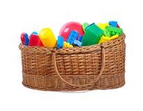 Brinquedos em uma cesta Foto de Stock Royalty Free
