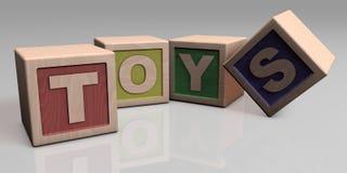 BRINQUEDOS escritos com blocos de madeira Imagem de Stock