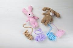 Brinquedos feitos malha - um coelho e um cão estão encontrando-se na placa Linha colorida Imagem de Stock