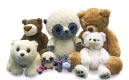 Brinquedos macios do ` s das crianças em um fundo branco Fotografia de Stock Royalty Free