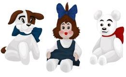Whi da ilustração do estilo dos desenhos animados do clipart da peluche da boneca do cão de brinquedo Fotos de Stock