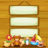 Brinquedos na frente dos quadros indicadores quadro vazios Fotografia de Stock
