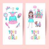 Brinquedos para meninas Grupo de cliparts do vetor ilustração stock