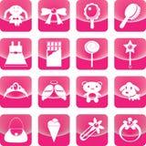 Brinquedos para o ícone da menina no botão cor-de-rosa Fotos de Stock