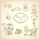 Brinquedos retros ícones tirados ajustados ilustração do vetor
