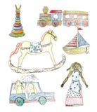 Brinquedos velhos de madeira e da palha do bebê - vector a ilustração do lápis, ajustam-se Fotos de Stock Royalty Free