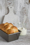 Brioche in the baking dish Stock Photography