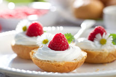 Brioche buns with addition of creamy cheese and fresh raspberries on white plate. Buttery buns with creamy cheese and fresh raspberry, delicious breakfast Royalty Free Stock Photo