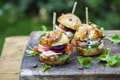 Brioche buns with salmon and salad. Multi seeded brioche buns with hot smoked salmon, cucumber, salad and yogurt sauce Stock Photo