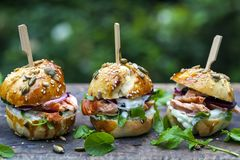 Brioche buns with salmon and salad. Multi seeded brioche buns with hot smoked salmon, cucumber, salad and yogurt sauce Stock Image