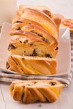 Brioche with chocolate chips. Stock Photo