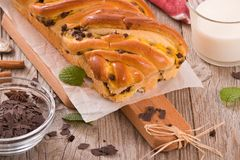 Brioche with chocolate chips. Royalty Free Stock Photo
