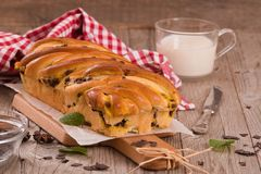 Brioche with chocolate chips. Stock Photography
