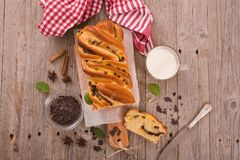 Brioche with chocolate chips. Royalty Free Stock Photos