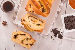 Brioche with chocolate chips. Stock Image