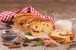 Brioche with chocolate chips. Royalty Free Stock Image