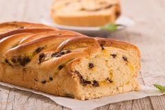 Brioche with chocolate chips. Royalty Free Stock Photography