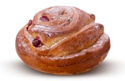 Brioche with cranberries for tea with powdered sugar stock photo