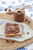Brioche with homemade chocolate spread Stock Photos