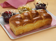 Brioche and jam Royalty Free Stock Photography